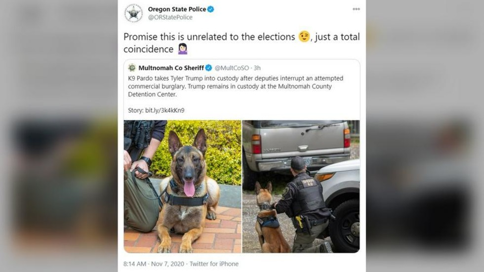 'Antifa interning': Twitter users ask who's posting on behalf of Oregon police after joke about Trump arrest
