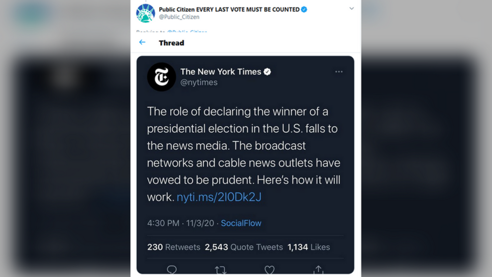 Following uproar, New York Times deletes tweet where it anointed 'news media' as arbiters of who wins US presidential election