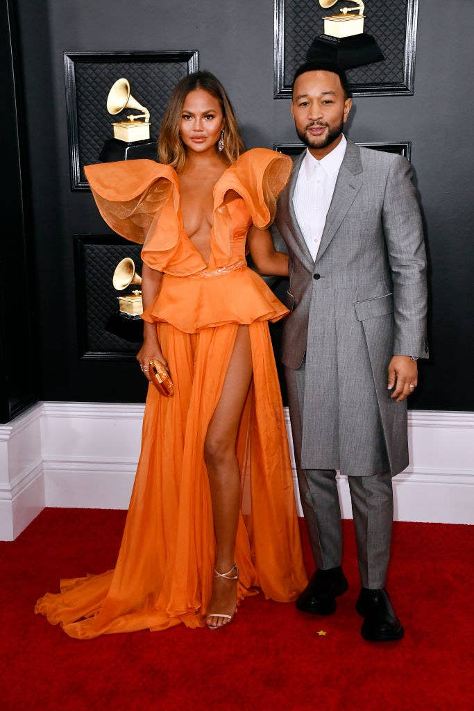 Chrissy and John on the red carpet at the 2020 Grammy's