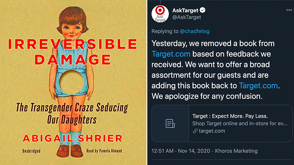 Target makes abrupt U-turn & RELISTS 'transphobic' book after being bombarded with censorship accusations