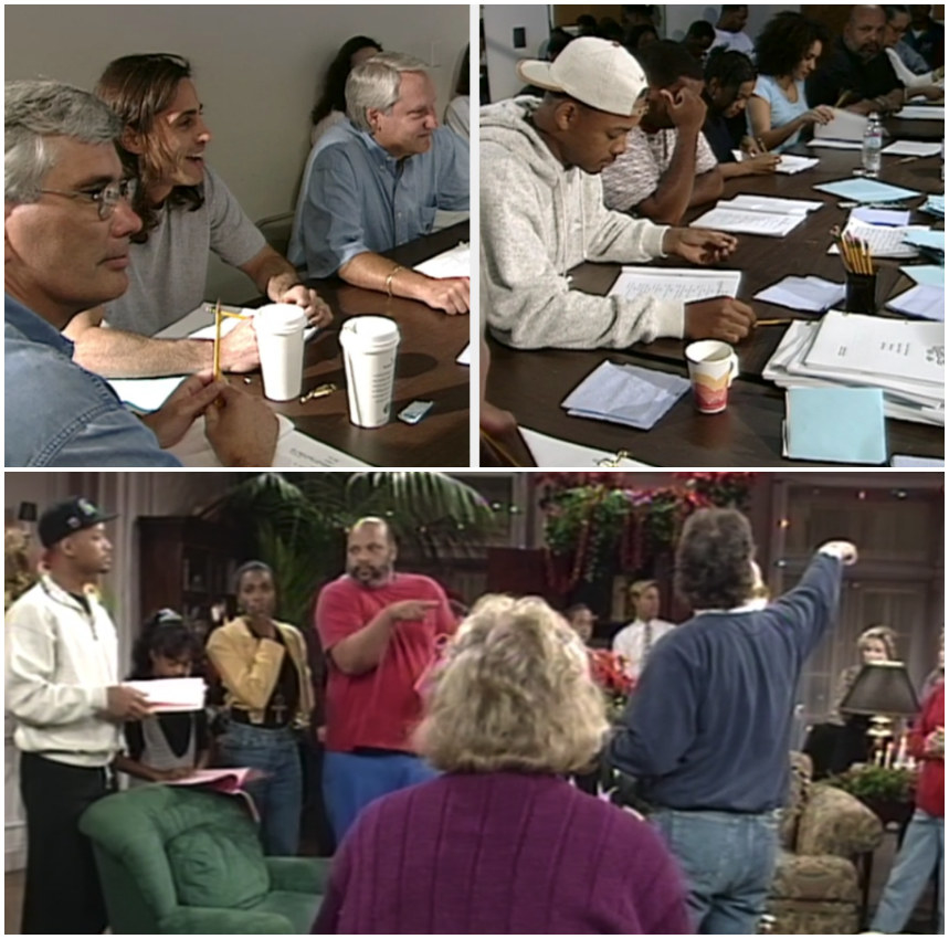 "A shot of ""The Fresh Prince"" cast reading an episode at the table, and the cast rehearsing during Season 1"