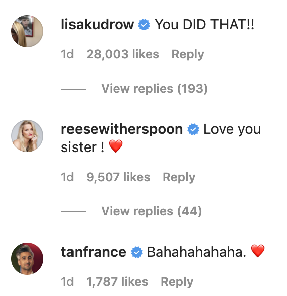"""Lisa Kudrow's comment which reads, """"You did that!"""""""