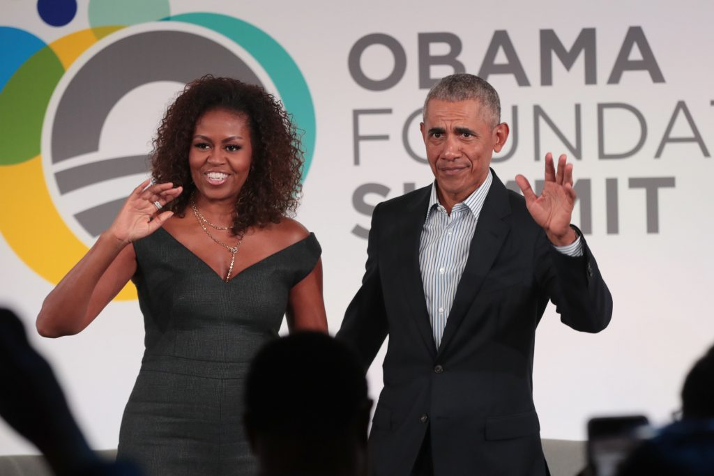 Former U.S. President Barack Obama and his wife Michelle close the Obama Foundation Summit together on the campus of the Illinois Institute of Technology on October 29, 2019 in Chicago, Illinois.