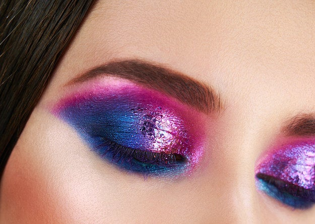 Color gradient eyeshadow expanding out beyond the sides of each eye