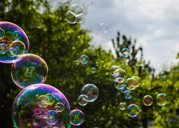 Bubbles floating in the sky around trees