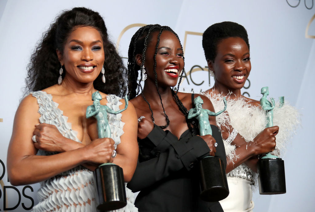 Angela Bassett, Lupita Nyong'o, and Danai Gurira, winners of Outstanding Performance by a Cast in a Motion Picture for 'Black Panther,' pose in the press room during the 25th Annual Screen Actors Guild Awards