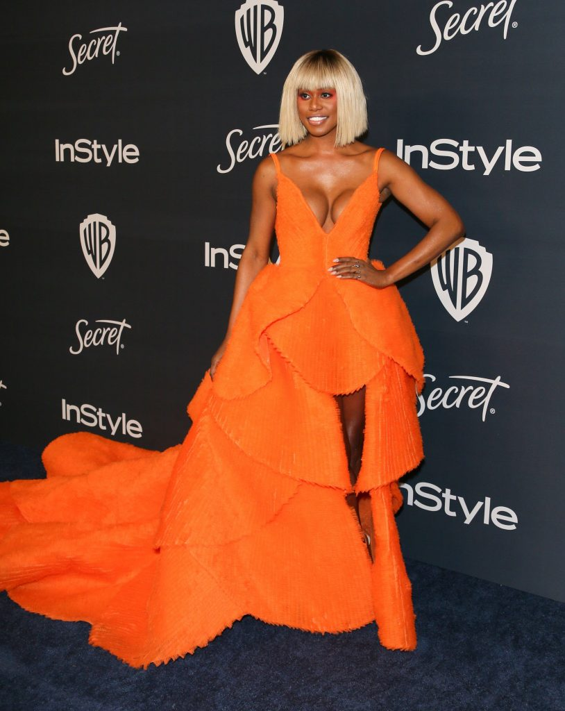 Actress Laverne Cox attends the 21st Annual InStyle And Warner Bros. Pictures Golden Globe After-Party in Beverly Hills, California on January 5, 2020