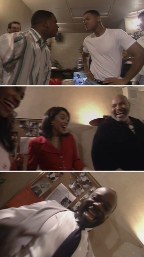 Will Smith, Alfonso Ribeiro, Karyn Parsons, James Avery, Joseph Marcell, and Tatyana Ali dancing in Will's dressing room