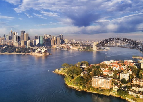 An overhead look at Sydney and its harbor