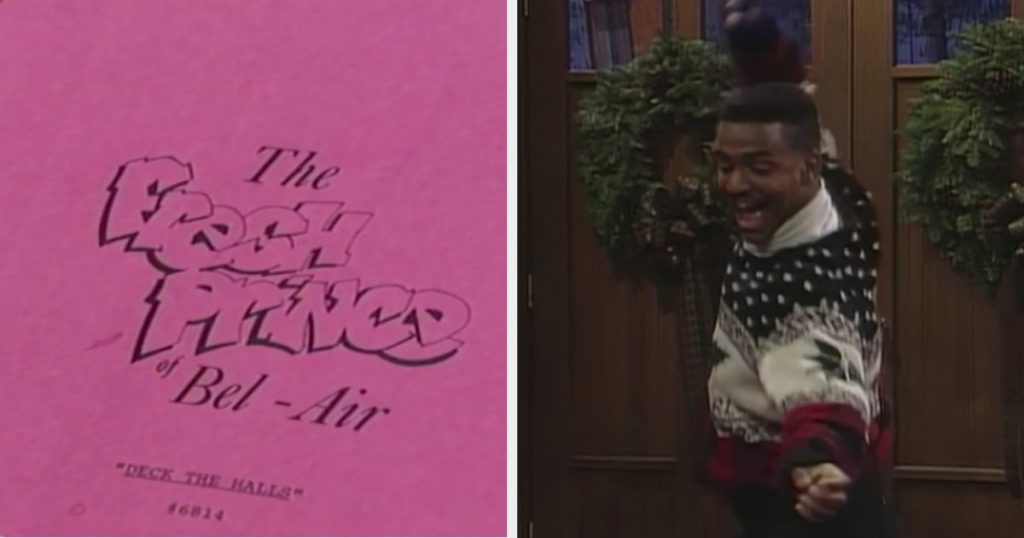 "An image of a ""Fresh Prince"" script, titled ""Deck the Halls"" and Carlton doing ""The Carlton"" dance for the first time in a Christmas sweater."