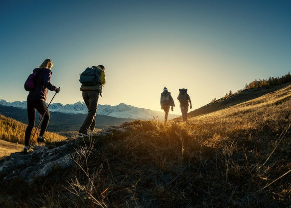 Four people hiking up a grassy hillside