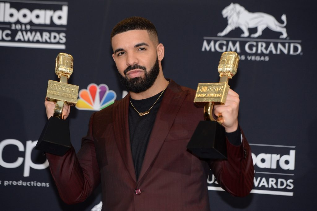 US rapper Drake poses in the press room during the 2019 Billboard Music Awards at the MGM Grand Garden Arena on May 1, 2019, in Las Vegas, Nevada