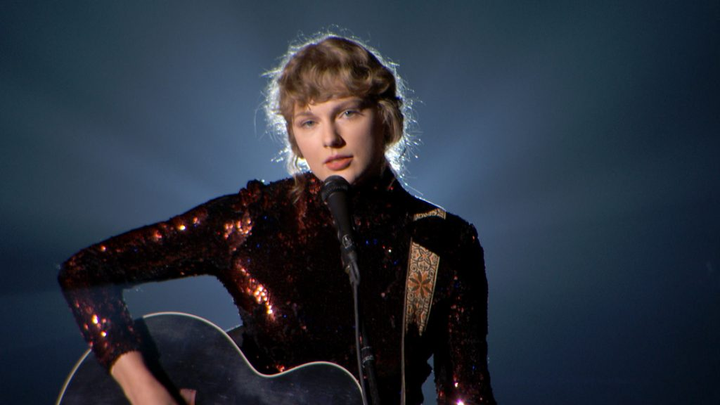 Taylor Swift performs onstage during the 55th Academy of Country Music Awards at the Grand Ole Opry on September 16, 2020 in Nashville, Tennessee.