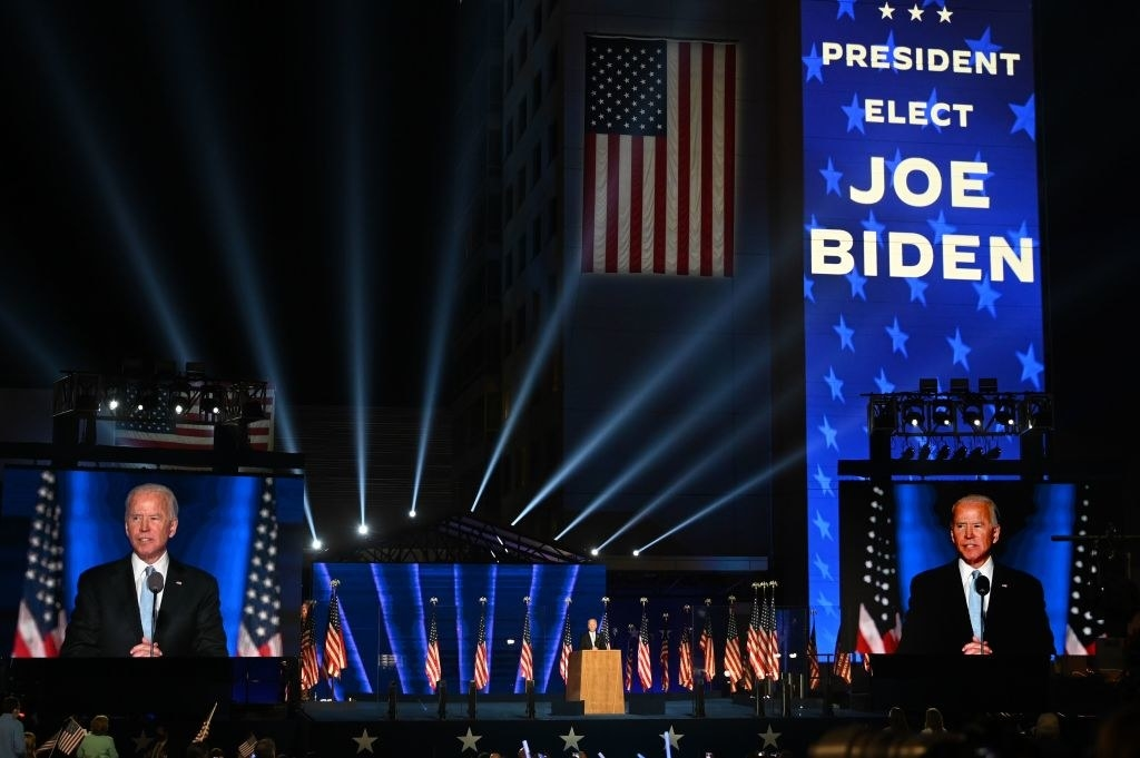 Joe Biden on stage giving a speech in Wilmington, Delaware, on November 7, 2020, after being declared the winner of the presidential election