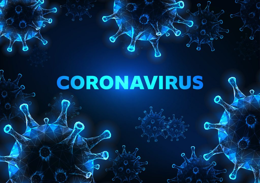Blue Coronavirus cells with abstract background