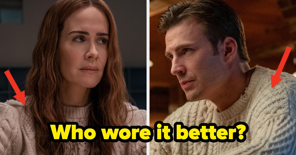 """Chris Evans And Sarah Paulson Had The Funniest """"Who Wore It Better"""" Debate Over Chris's Iconic """"Knives Out"""" Sweater"""