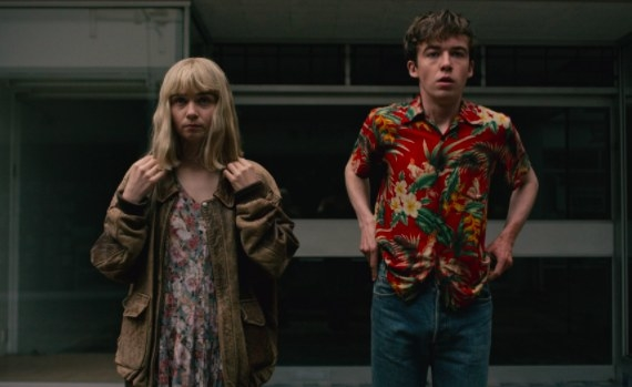 Jessica Barden as Alyssa and Alex Lawther as James in The End of the F***ing World