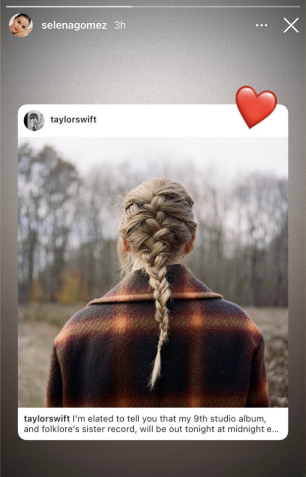 Selena's instagram story, which is Taylor's post introducing the album with a heart over it