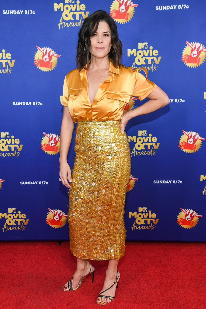 Neve Campbell attends the 2020 MTV Movie & TV Awards