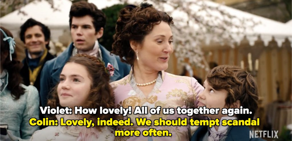 Violet Bridgerton surrounded by her family