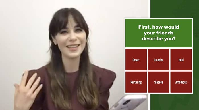 "Zooey Deschanel taking the ""Which Elf Character Are You?"" quiz."
